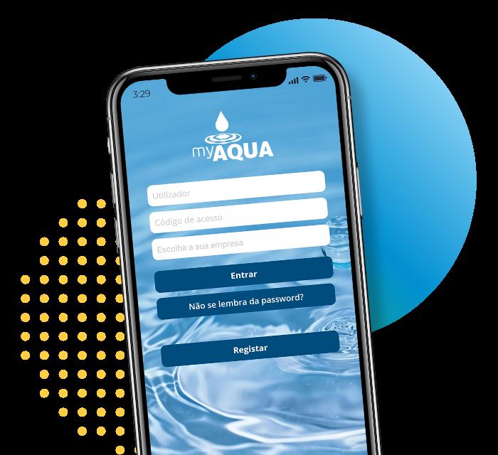 Imagem do telemóvel com a aplicação MyAqua